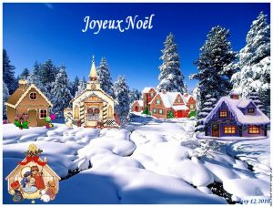 Une autre carte de Noël sur fond de paysage enneigé avec des petites maisonnettes qui me rappellent la déco de mon buffet de salle à manger.